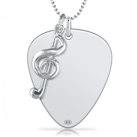 Plectrum with Treble Clef Necklace, 925 Sterling Silver (can be personalised)