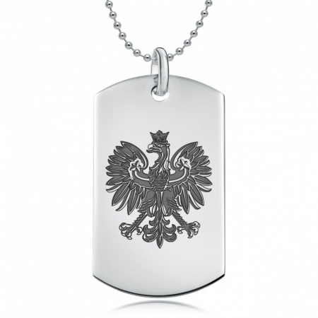 Polish Eagle Dog Tag Necklace, Personalised, 925 Sterling Silver