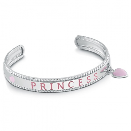 Princess Bangle, Personalised, Sterling Silver & Pink Enamel Heart