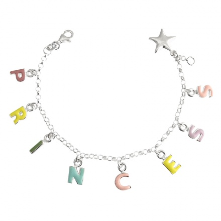 Childs Princess Sterling Silver Initials and Star Bracelet