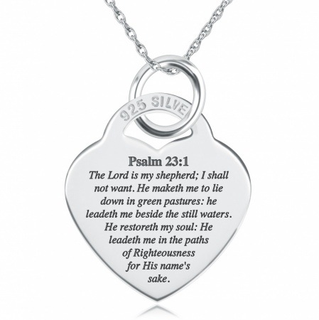 The Lord is My Shepherd Psalm 23:1 Necklace, Personalised, 925 Sterling Silver
