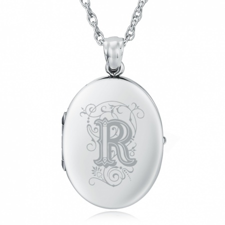 Initial/Letter R Locket, Personalised/Engraved, 925 Sterling Silver