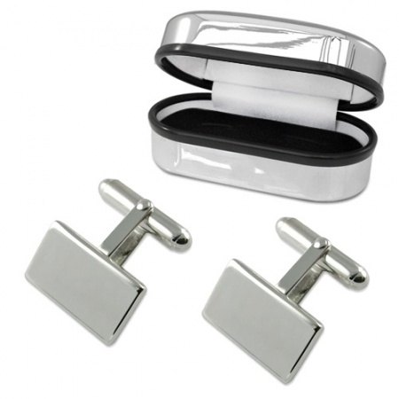 Rectangle Plain Cufflinks Sterling Silver Plated (can be personalised)