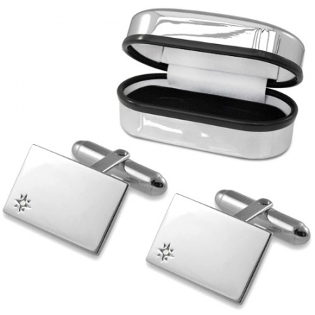Diamond Set Plain Rectangular Sterling Silver Cufflinks (can be personalised)