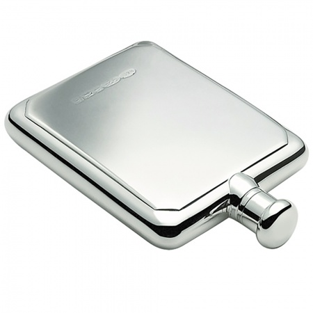 Rectangular 4oz Sterling Silver Hip Flask, Personalised, Hallmaked