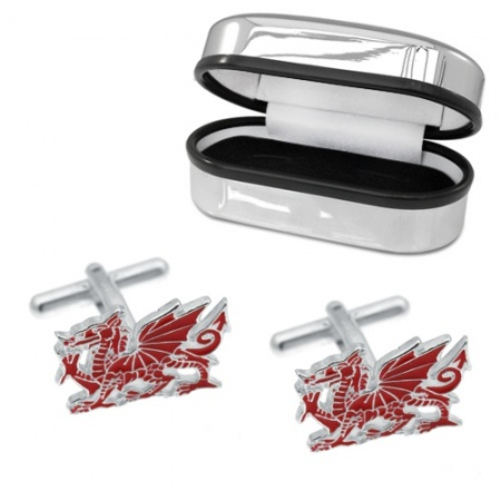 Welsh Dragon Red Enamel & Sterling Silver Cufflinks (can be personalised)
