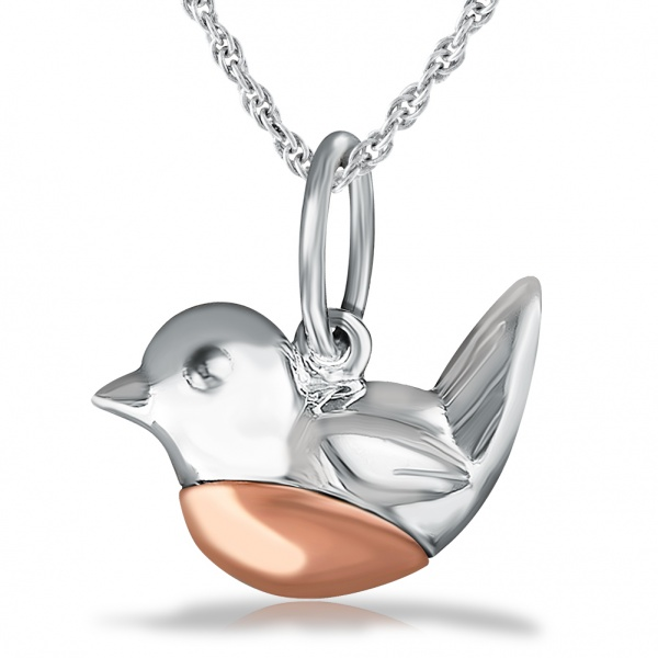 Robin Redbreast Necklace, Sterling Silver with Rose Gold Breast