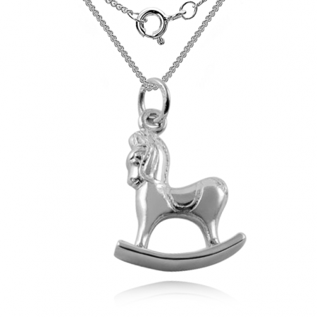 Children's Rocking Horse Necklace, Sterling Silver