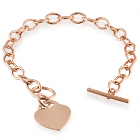 Rose Gold Plated Women's Toggle Heart Bracelet, Personalised