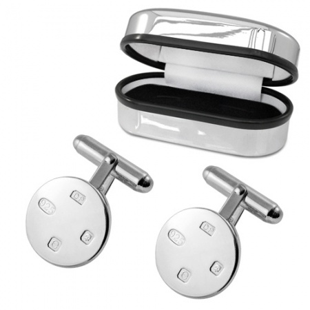Round Feature Hallmark Sterling Silver Cufflinks (can be personalised)