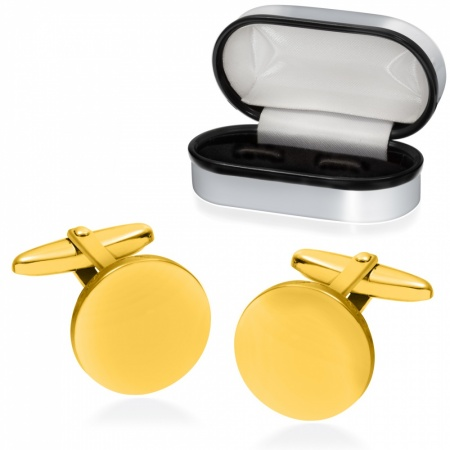Plain Round Cufflinks, Gold Plated 925 Sterling Silver, Personalised