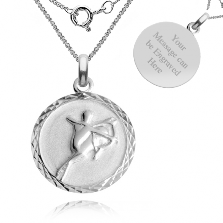 Sagittarius, Zodiac Necklace, Sterling Silver, Personalised
