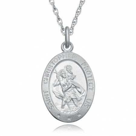 St Christopher Protect Us Oval Sterling Silver Brushed Finish Necklace (can be personalised)