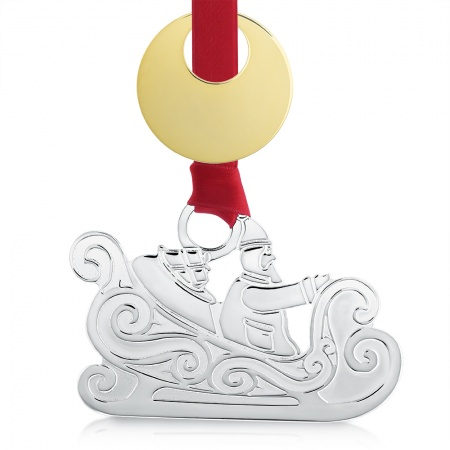 Santa on Sleigh Christmas Decoration, Personalised, Silver Plated