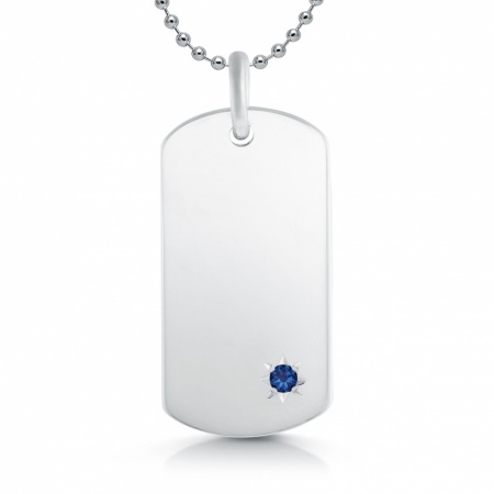 Sapphire & Sterling Silver Hallmarked Dog Tag (can be personalised)