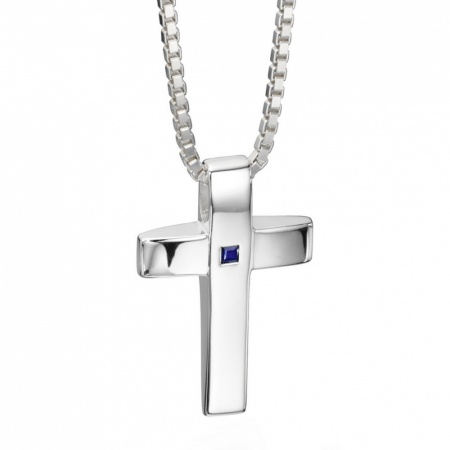 Men's Genuine Sapphire Cross Necklace, Personalised, Sterling Silver