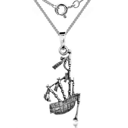 Scottish Bagpipes Necklace, 925 Sterling Silver