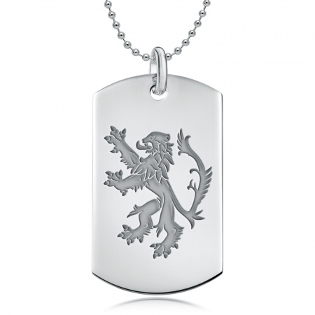 Scottish Lion Sterling Silver Dog Tag Necklace (can be personalised)