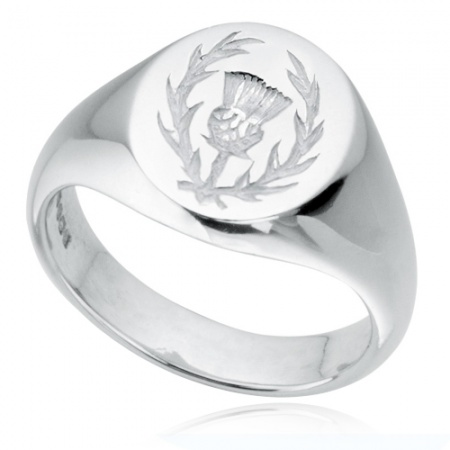 Scottish Thistle Signet Ring, Sterling Silver, Hallmarked