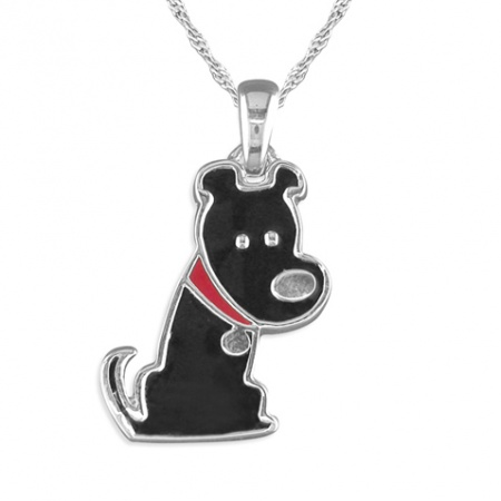 Children's Scotty Dog Enamel & Sterling Silver Necklace
