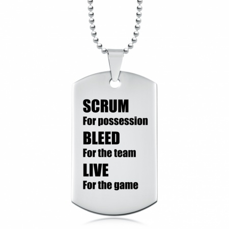 Scrum for Possession, Rugby Dog Tag, Personalised, Stainless Steel