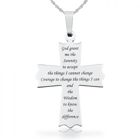Serenity Prayer Cross Necklace, Personalised, 925 Sterling Silver