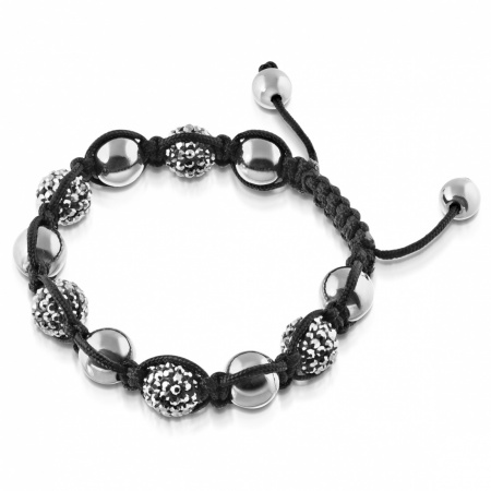 Shamballa Bracelet, Black with Crystal Beads