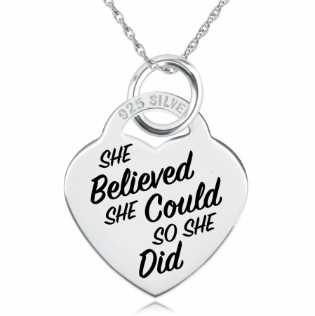 She Believed She Could, So She Did Necklace, Personalised, Sterling Silver