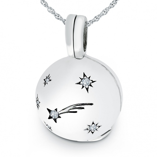 Shooting Star Ball Locket, Cubic Zirconia and Sterling Silver