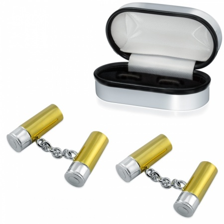 Shotgun Cartridge Cufflinks, 925 Sterling Silver, Personalised