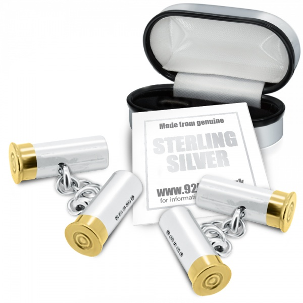 Shotgun Cartridge Cufflinks, Hallmarked Sterling Silver (Engraving Available)