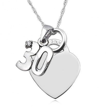 30th Birthday Heart Necklace, Personalised, Sterling Silver & CZ