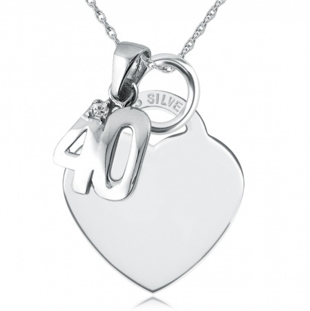 40th Birthday Necklace, Personalised, Cubic Zirconia & Sterling Silver, Heart Shaped