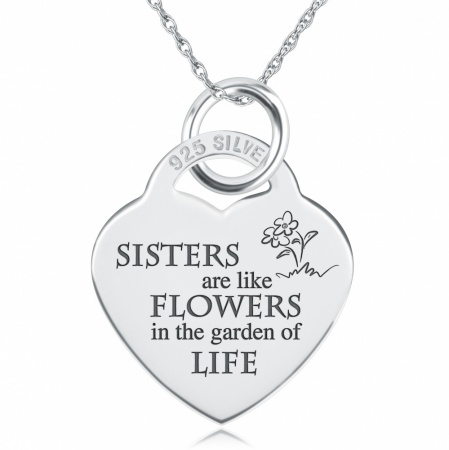 Sisters Are Like Flowers Necklace, Personalised, Sterling Silver