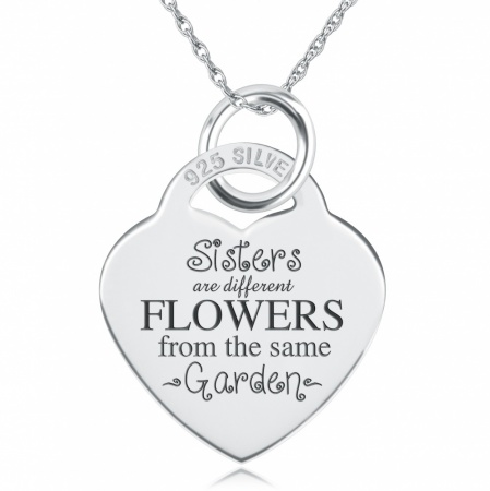 Sisters are Different Flowers Heart Shaped Sterling Silver Necklace (can be personalised)