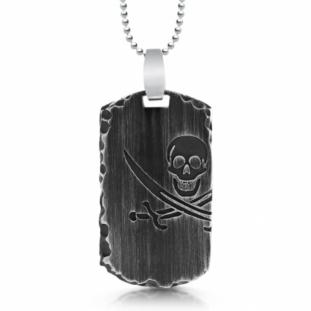 Pirate Skull & Crossed Swords Dog Tag, Personalised, Stainless Steel