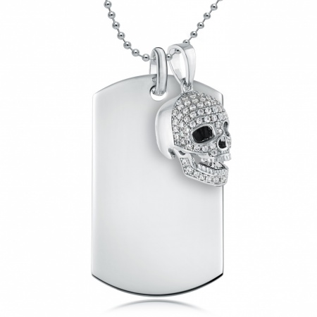 Skull and Dog Tag Necklace, with Personalised Engraving, 925 Sterling Silver, Men's or Women's