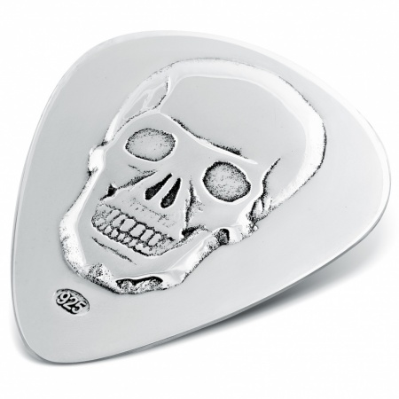 Skull Guitar Plectrum (Pick) Personalised, 925 Sterling Silver