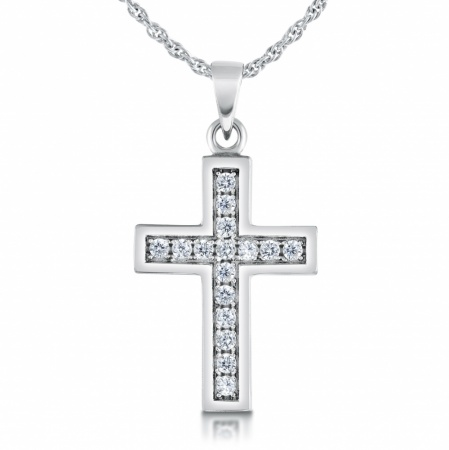 Ladies/Childs Small Cross Necklace, with Cubic Zirconia, Sterling Silver