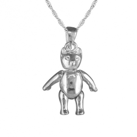Plain Movable Teddy Bear Necklace, with Moving Arms & Legs Sterling Silver