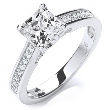 Solitaire,  Pave Set Shoulders Sterling Silver Ladies Ring - Sizes J - Q
