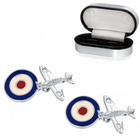 Spitfire Plane, RAF Roundal Cufflinks, 925 Sterling Silver (can be personalised)