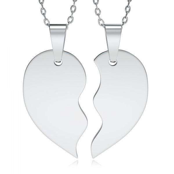 Split Heart Necklace, Personalised, Sharing, Stainless Steel