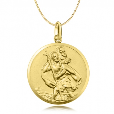 Large St Christopher Pendant 9ct Yellow Gold (can be personalised)