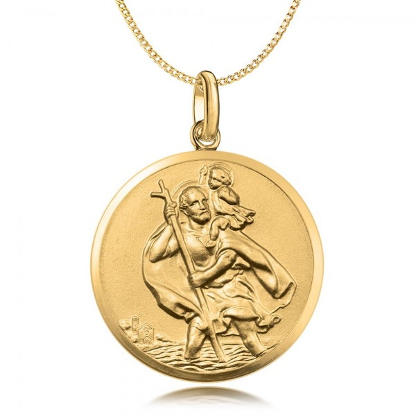 St Christopher Necklace, 9ct Gold, Personalised, Antique Finish, 18mm Diameter