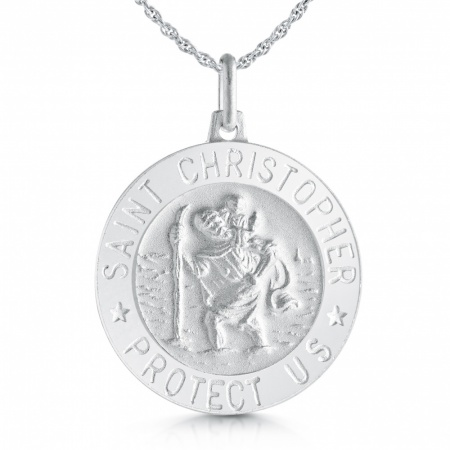 St Christopher Protect Us Necklace, Personalised, Sterling Silver