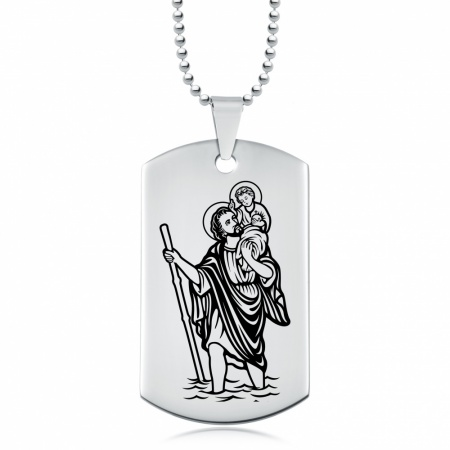 St Christopher Dog Tag, Stainless Steel, Personalised