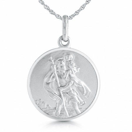 St Christopher Necklace, Personalised, Double Sided, Sterling Silver