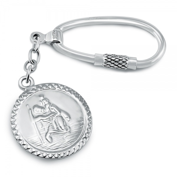 St Christopher Keyring, Personalised, Sterling Silver, Hallmarked