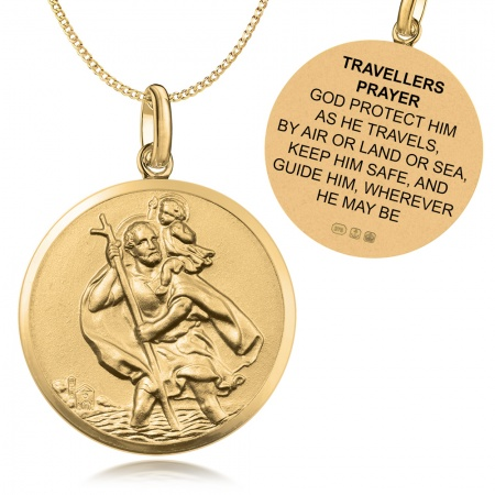 St Christopher Travellers Prayer 9ct Gold Antique Finish Necklace